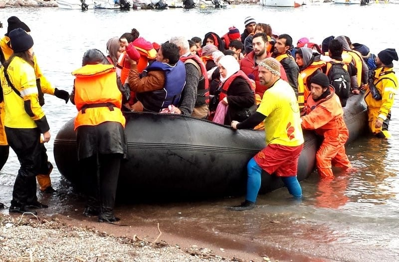 Boat landing, Lesvos