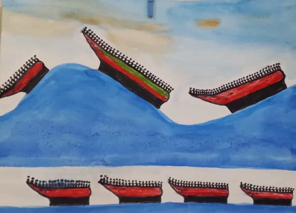 Child's painting of boats on wave by James Vin Brown, age 16, from Guinea
