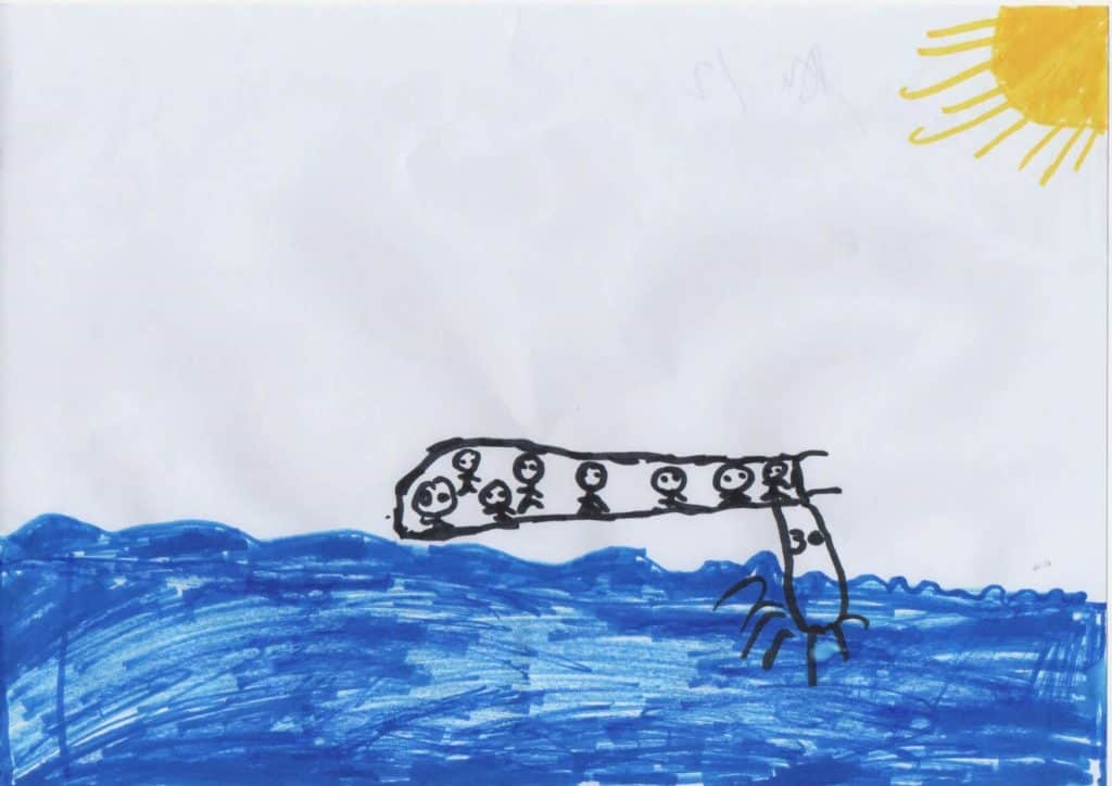 Drawing of boat at sea with yellow sun in top right corner