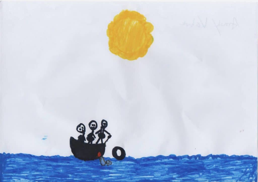 Drawing with Vahide and family in a boat at sea and yellow sun in the middle of the sky.